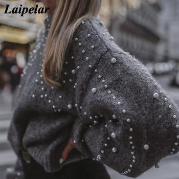 Winter Turtleneck Sweaters Pearl Beading Sweater Warm Lantern Sleeve Women Jumper Female Loose Gray Pullover Pull Knitted A4 autumn winter turtleneck knitted warm sweaters women new lantern sleeve side slit jumper pullover solid casual loose sweater top