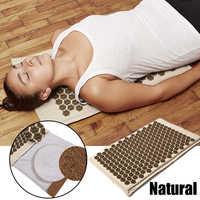 (SHOP NOW)-colchoneta de acupuntura de lino orgánico Natural, almohadilla de masaje con puntas de loto, esterilla de Yoga, terapia para aliviar el dolor de espalda/cuello/dolor