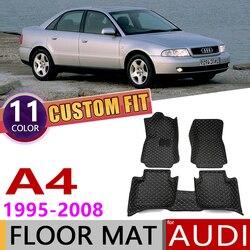 Niestandardowe skórzane dywaniki samochodowe dla Audi A4 Sedan 8D 8E 8H B5 B6 B7 1995 ~ 2008 5 miejsc Auto Foot pad dywanik akcesoria 2000 2005 w Naklejki samochodowe od Samochody i motocykle na