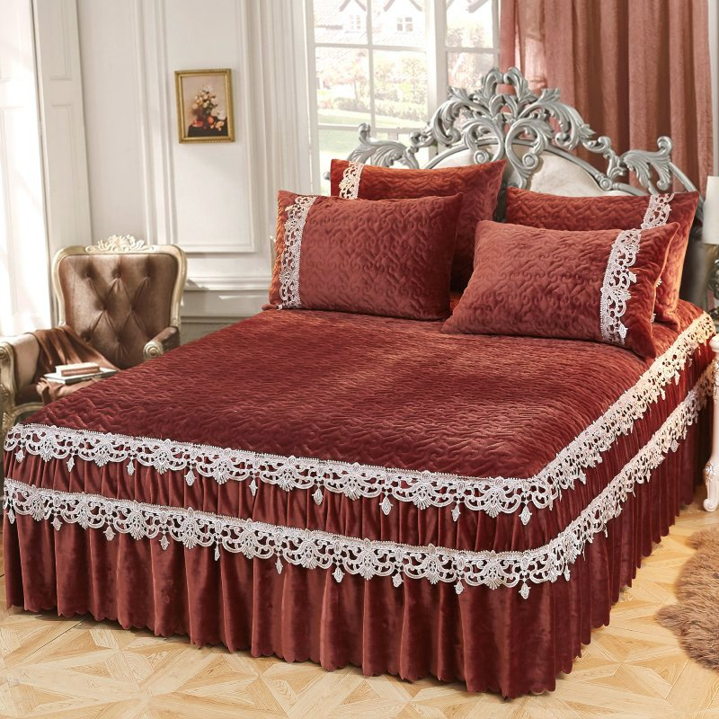 Thicker Warm Crystal velvet Quilted embroidery Bed spread Fitted Sheet Pillowcases  2/3pcs Pleated lace Princess  Bedding|Bedspread| |  - title=