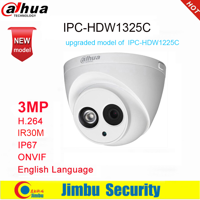 Dahua IP Camera 3MP IPC-HDW1325C H.264 IP67 IR30M  ONVIF Surveillance Network Dome Camera 3DNR Day/Night