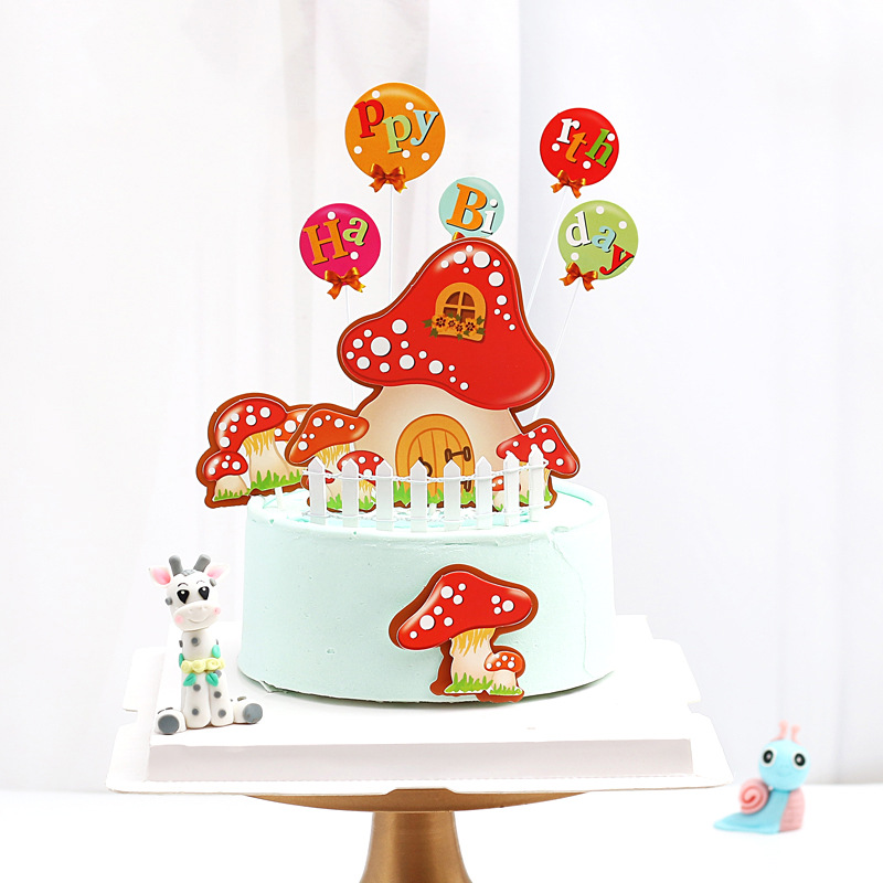 Magnificent 8Pcs Cake Toppers Mushroom House Birthday Cake Insert Cake Personalised Birthday Cards Beptaeletsinfo