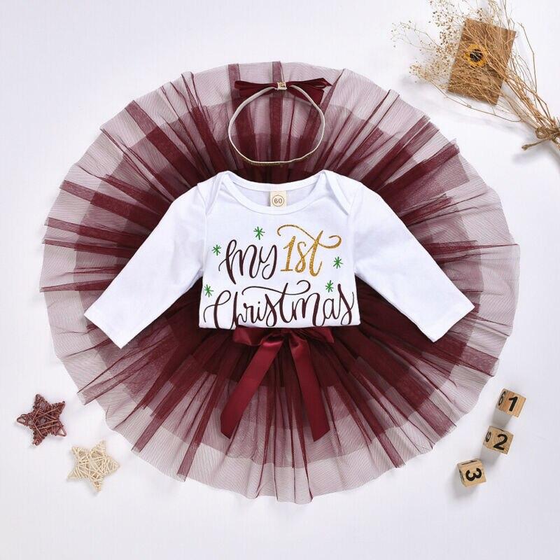 Meine erste weihnachten mädchen Kleid Neugeborenen Baby Mädchen Langarm Romper Tutu Mesh Rock Outfits weihnachten kostüm für mädchen