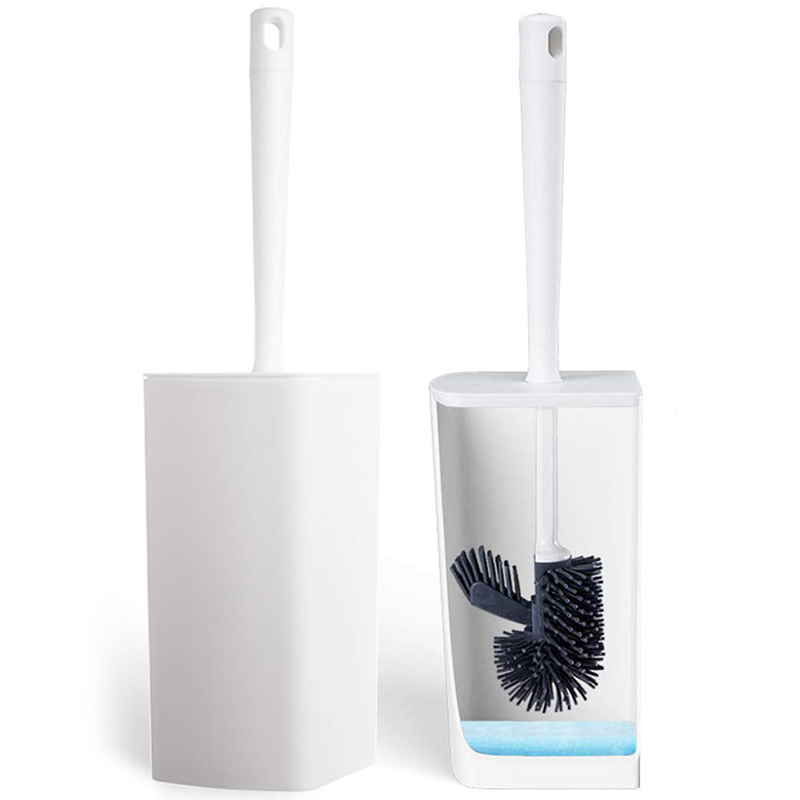 Toilet Brush And Holder, Bathroom Toilet Bowl Brush Set, Silicone Toilet Cleaning Brush Kit With Soft Bristle (White)