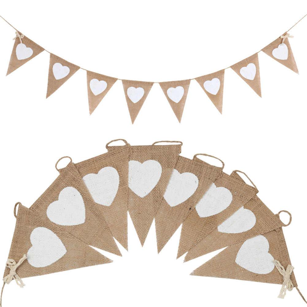 2.8m 8 bandeiras amor coração linho bunting bandeiras serapilheira renda pennant festa guirlanda decoração de casamento banners