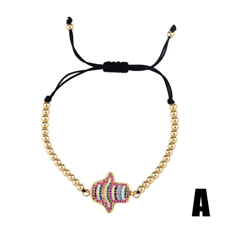 ZVZO Rainbow grecki przepaska na oko kobieta cyrkonia Fatima bransoletka na rękę 24K złota złe oko biżuteria tenis pulseira olho grego prezent