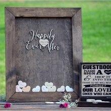 Пользовательские деревянные сердце Свадебная Гостевая книга frame3D альтернатива свадебный душ Drop top box День рождения желаний знак юбилея доска