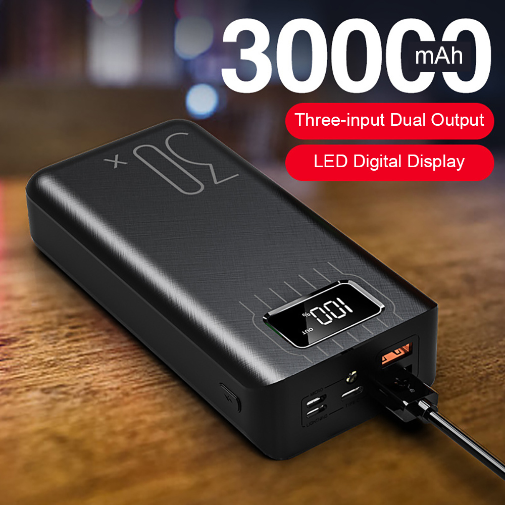 30000mAh Power Bank Type C Micro USB QC Fast Charging Powerbank For iPhone LED Digital Display Portable External Battery Charger