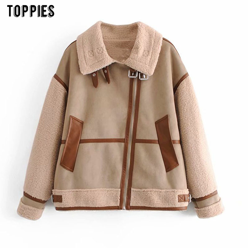 Toppies Woman Faux Suede Leather Jacket Thicker Warm Fleece Coat Zipper Patchwork Outwear Fashion Streetwear