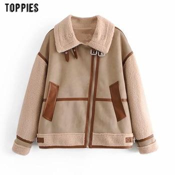 Toppies Woman Faux Suede Leather Jacket Thicker Warm Fleece Coat Zipper Patchwork Outwear Fashion Streetwear
