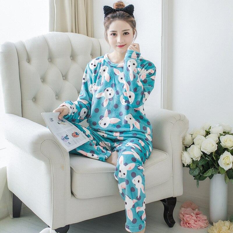 2019 Autumn Winter Women Pajamas Sets Sleepwear Long Sleeve Thick Warm Coral Flannel Female Cartoon Animal Pijama Mujer 46