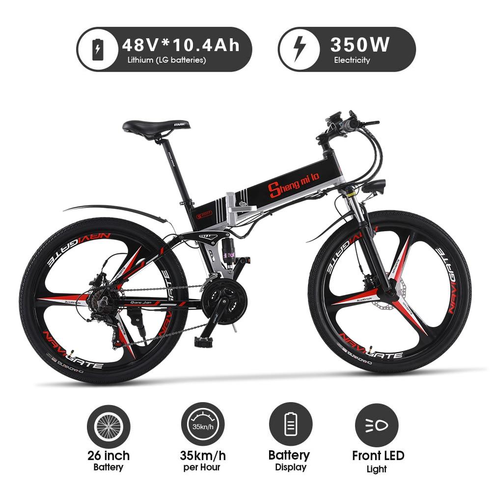 Elektrische fahrrad 26 zoll klapp elektrische mountainbike booster 48V 10,4 ah lithium-batterie off-road ebike Integriertes rad ebike