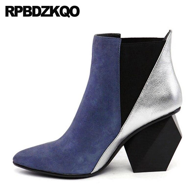 Chunky Botas Dedo Apontado Curto Mulheres Marca Inverno Botas De Pele De Couro Genuíno Sapatos de Salto Alto Azul Chelsea Estranho Slip On tornozelo