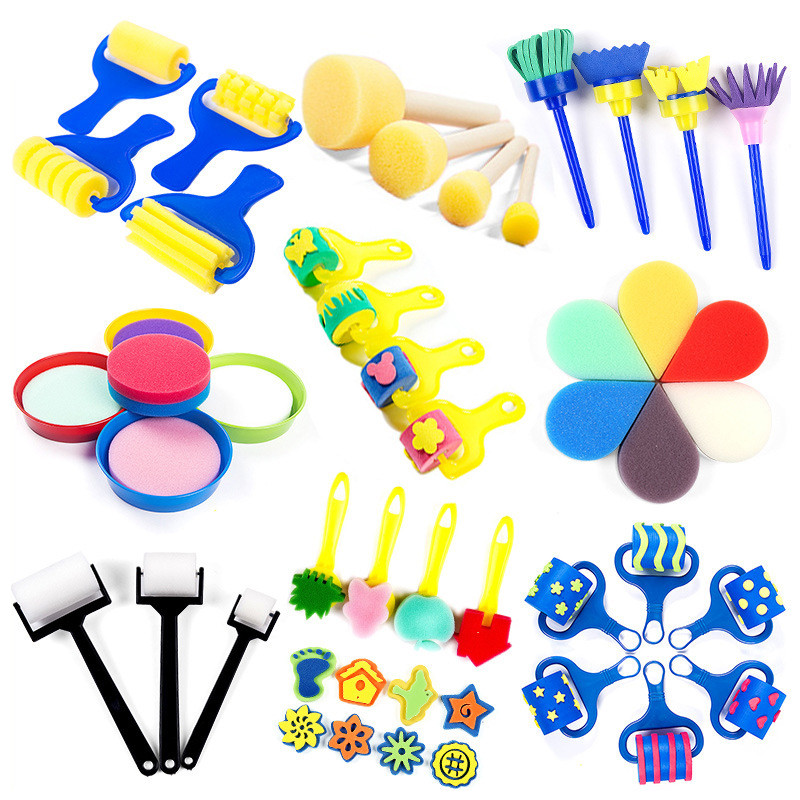 DIY Sponge Paint Roller Brush Plastic Handle Set Kid Art Star Craft Painting Tool Early Education Drawing Toys For Children Gift