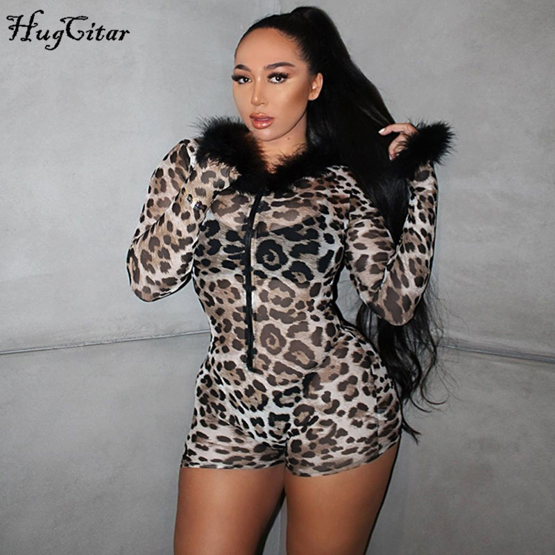 Hugcitar 2019 Leopard Print Mesh See-through Fur Patchwork Hooded Sexy Playsuit Autumn Winter Women  Streetwear Club Outfits