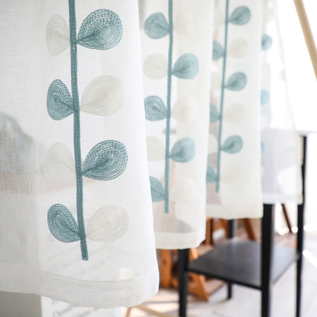 1 pcs Rod Pocket Short Curtain for Kitchen Blue White Leaves Embroidered ball tassel Tulle Half-Curtain for Door Corridor AD309