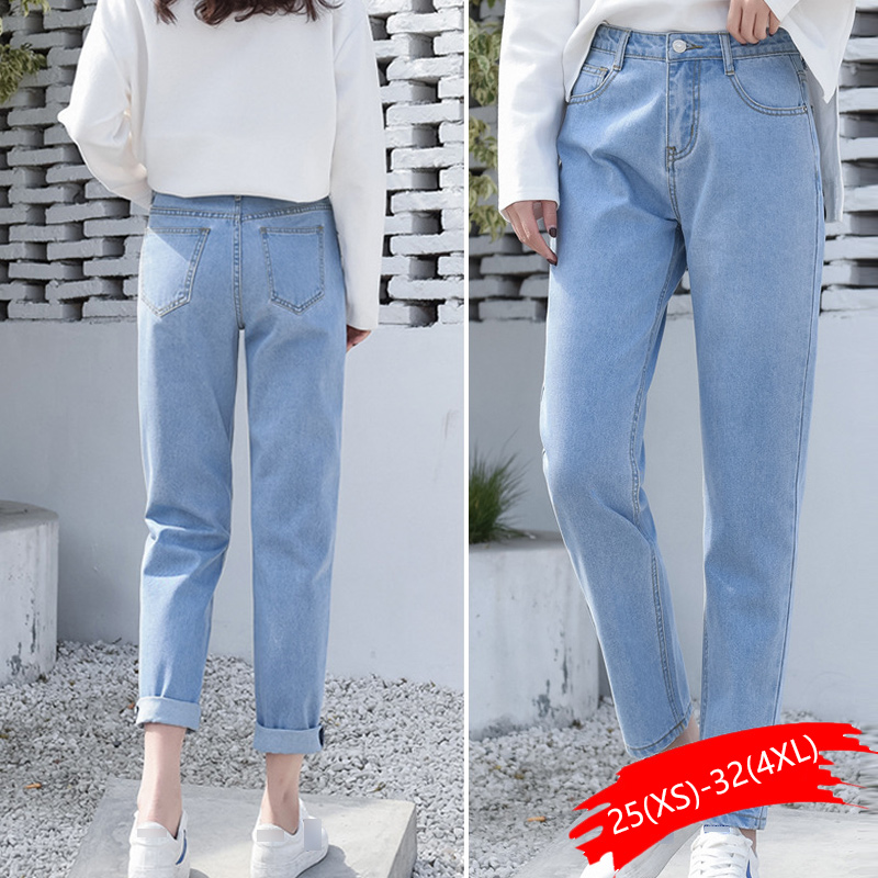 Cotton White Jeans For Women High Waist Harem Mom Jeans Plus Size Sky Blue Pants Black Fashion For Women Jeans Beige 2019