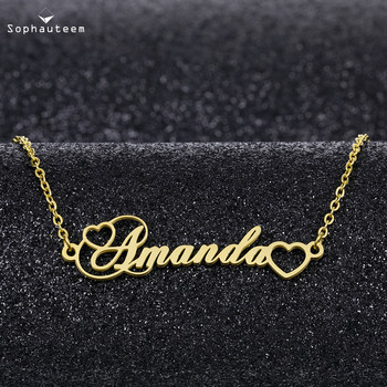 Custom Necklace Heart Pendant Stainless Steel  Chain Personalized Name Necklaces Choker Jewelry Necklaces Gifts for Women Girl custom necklace heart pendant stainless steel gold chain personalized name necklaces choker jewelry necklaces for women dropship