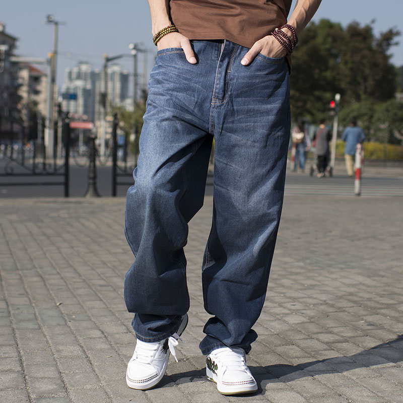 Japanese Mens Hip Hop Baggy Jeans For Men Wide Leg Skateboard Pants Plus Size 46 Fashion Spring Autumn Loose Fit Blue Jeans Long