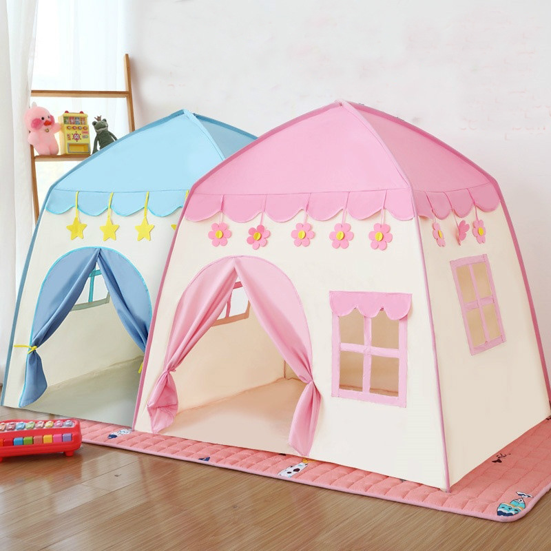 Kids Play Tent Castle Teepee Gamehouse Easy Install Portable Star Bling Pink Blue Birthday Gift Children Outdoor Playhouses