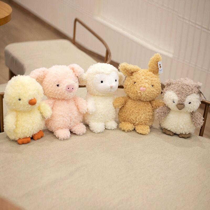Peluche de cerdo Kawaii de 20/30CM para niños, Animal relleno, búho, conejo, pato, oveja, regalo de cumpleaños