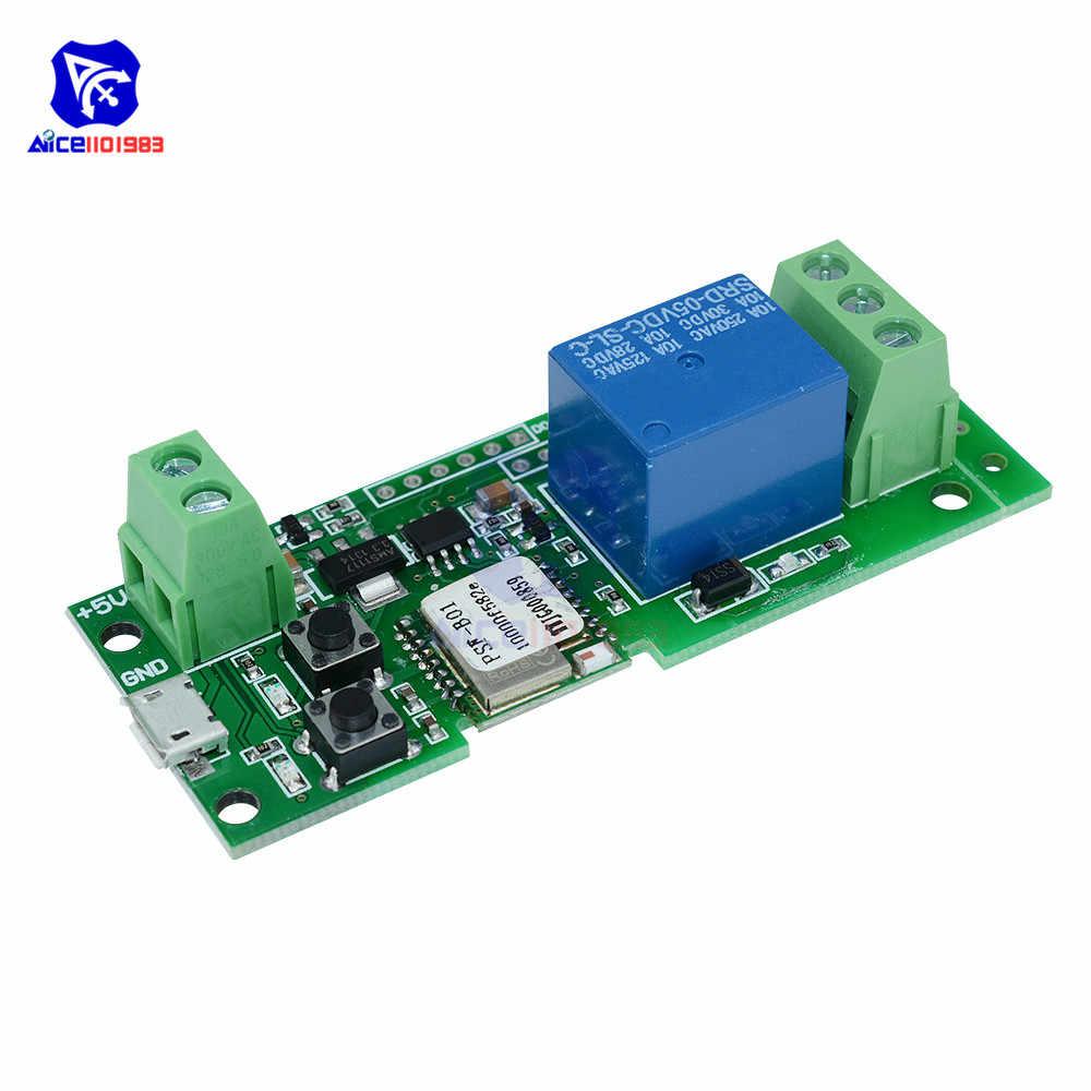 Diymore Dc 5V 1 Kanaal 433Mhz Wifi Draadloze Self-Lock Relais Module Schakelaar Controle Micro Usb Ingang voor Audrino Smart Home
