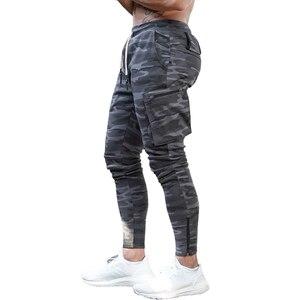 Image 5 - Męskie trening Fitness spodnie do biegania multi zip pocket Cargo Workout spodnie sportowe bawełniane męskie Gym Jogging taktyczne spodnie bojowe
