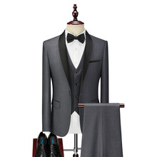3 piece Formal Groom Tuxedo for Wedding Prom Slim fit Men Suits in Stock with Black Shawl Lapel Man Set Fashion Clothes(China)