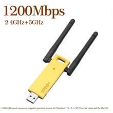AMKLE USB واي فاي محول استقبال 1200 mbps ثنائي النطاق واي فاي مكرر هوائي دونغل 5Ghz 2.4Ghz بطاقة الشبكة USB صغيرة