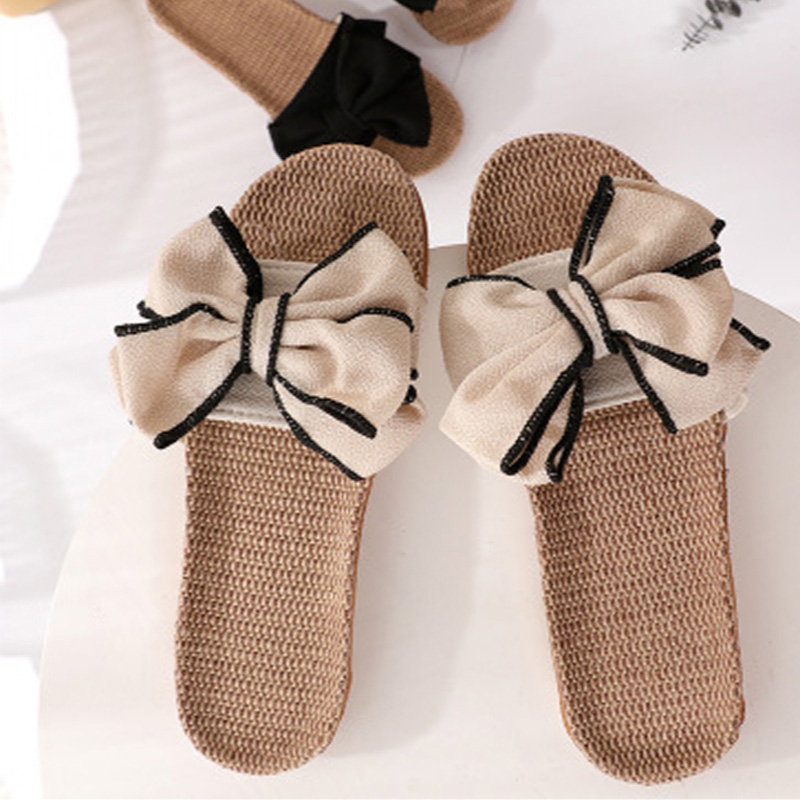 Summer Women Slippers Fashion Bowtie Women's Flats Ladies Open Toe Non-slip Slides Comfortable Female Sweet Outside Shoes