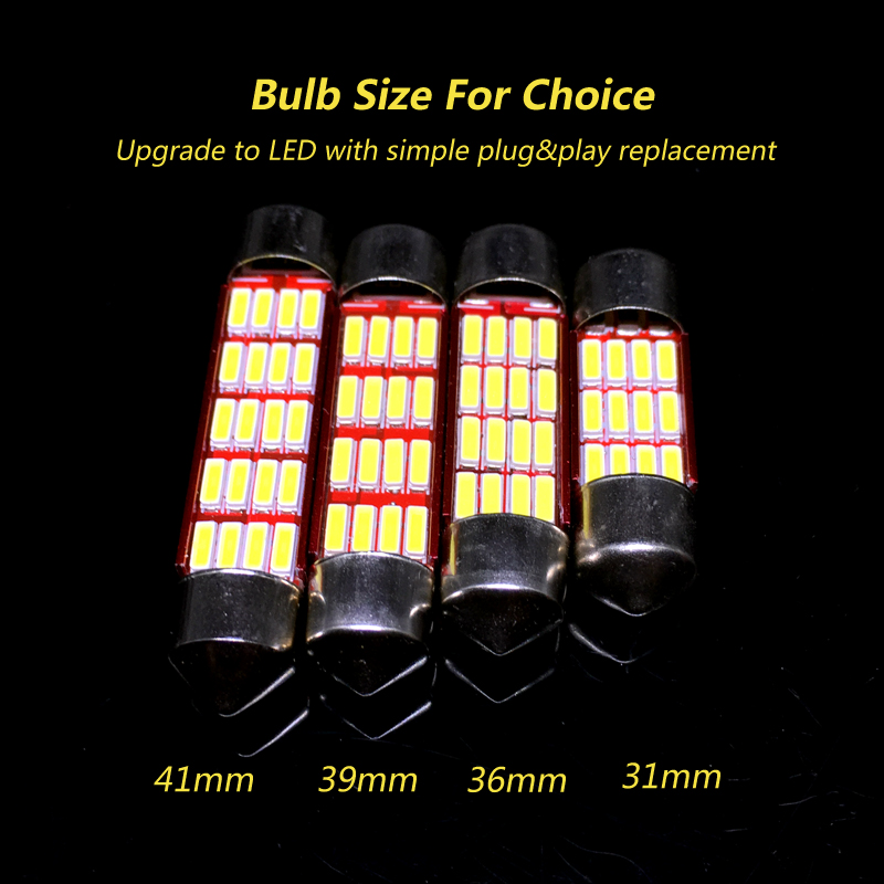 2x C5W Canbus LED Light Bulb festoon C10W 31mm 36mm 39mm 41mm 4014SMD Auto Led Lamp Car Interior Dome Map License Plate Light in Signal Lamp from Automobiles Motorcycles