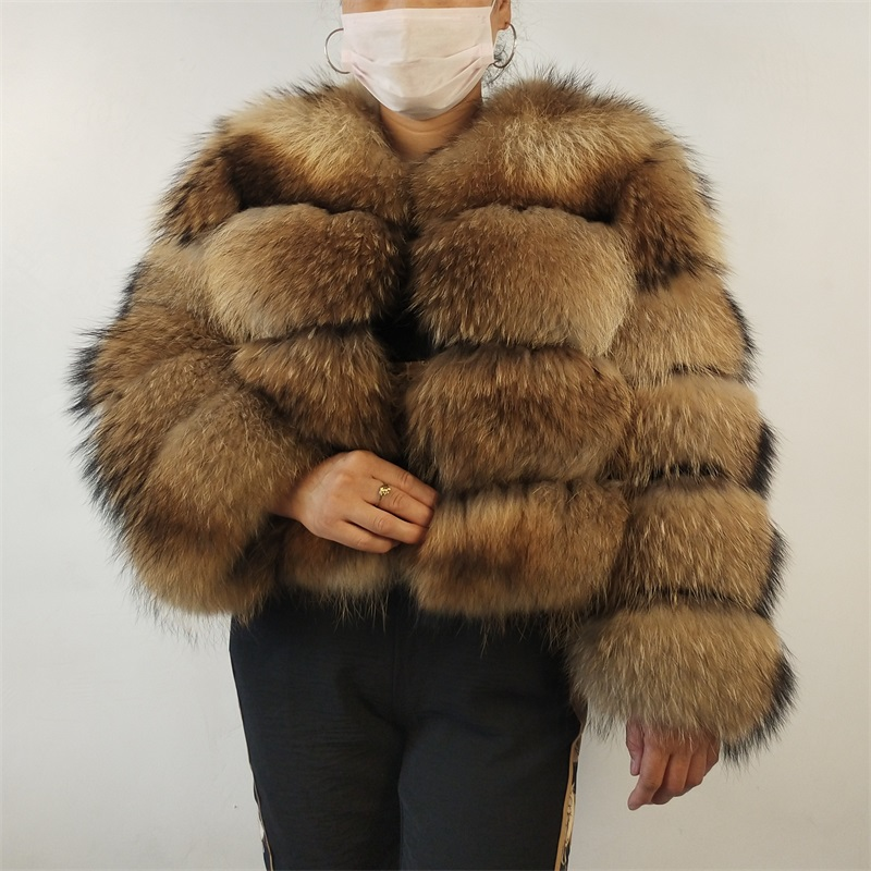 BEIZIRU Real Raccoon Silver Fox Fur Coat Plus Size Clothes Natural Winter Women Round Neck Warm Thick New Style Real Fur  - AliExpress