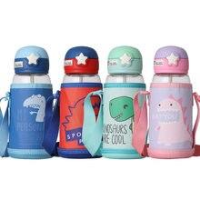Garrafa de água de plástico em aço inoxidável, garrafa de água, desenho animado, canudo, novo, aplicável