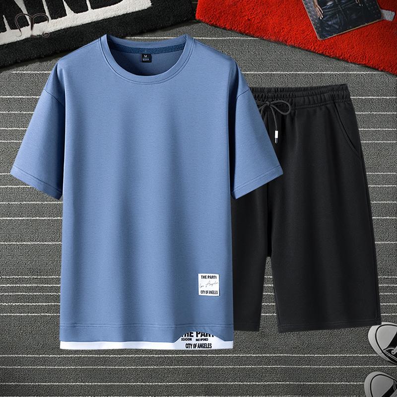 Men's Sets 2 Piece T Shirt Sweatpants Track Suit Shorts Jogger Sets Casual Tracksuit Men Sportswear Set Brand Clothing Oversize