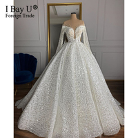 Stunning Pearl Princess Luxury Long Sleeve Wedding Dress 2020 with Full Beading African Wedding Gowns vestidos de noiva