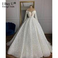 Stunning Pearl Princess Luxury Long Sleeve Wedding Dress 2020 with Full Beading African Wedding Gowns vestidos de noiva