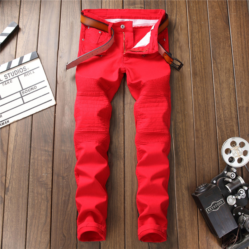 Red Men Jeans Skinny Jean Homme Denim Spijkerbroeken Heren Biker Stretch Pants Trousers Slim Fit Vaqueros Hombre Warm Calca