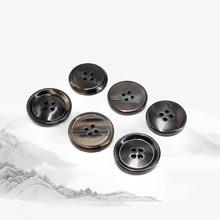 Wholesale 20pcs Resin Jacket Buttons 4-holes Black Round Tex