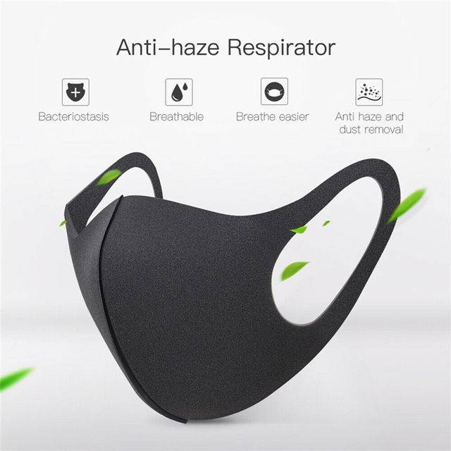New Washable Childern Face Mask PM2.5 Protective Anti-Dust Children Mask Kids Anti Flu Reusable Masks Pure Black 4