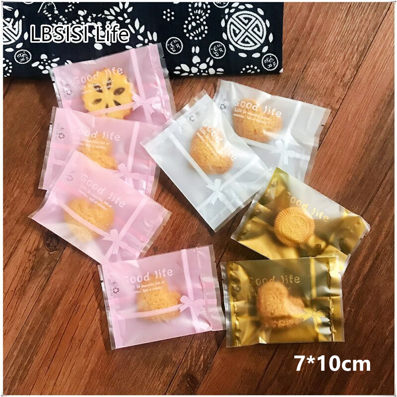 LBSISI Life 100pcs Gold Bow Cookie Nougat Candy Hot Seal Bags Energy Cheese Food Package Bag For Wedding Decoration Baby Shower