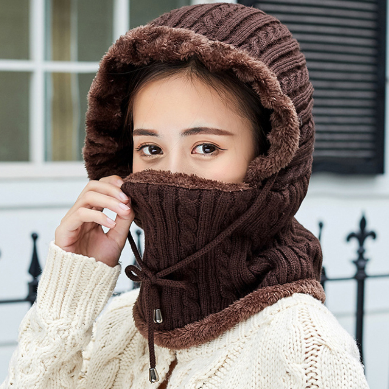 HT2712 Women Winter Accessories Thick Warm Windproof Earflap Cap Ladies Knitted Hat With Scarf Female Solid Winter Set Beanies