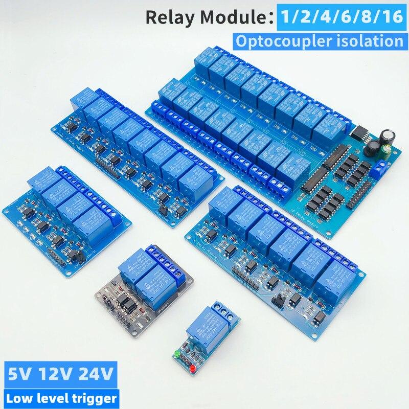 5/12/24V 1/2/4/6/8/16 modulo relè 8 canali, con uscita relè accoppiatore ottico 1 2 4 6 modulo relè 8 canali trigger basso livello