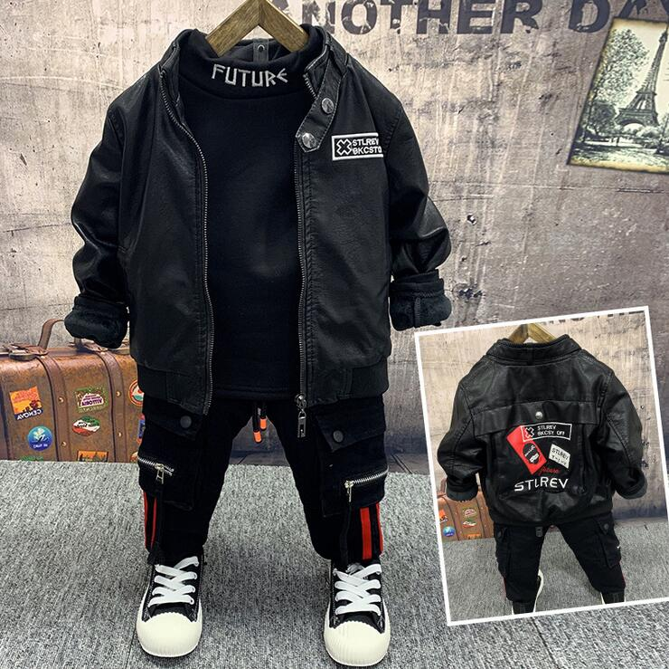 Children Boys Warm Clothes Winter Baby Boys Warm Coats,thick T-shirts,thick Jeans 3Pcs/Sets Fashion Kids Tracksuits 2-6years
