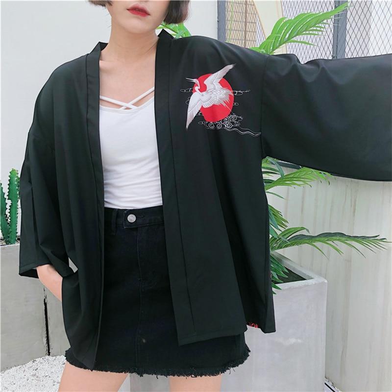 Red-crowned crane embroidery   basic     jacket   coat Autumn Retro street satin bomber   jacket   Women reversible baseball   jackets   sukajan