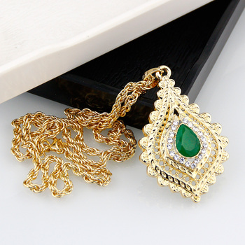 Sunspicems 2021 Chic Morocco Women Crystal Pendant Necklace Gold Color Rhinestone Arabic Ethnic Banquet Wedding Jewelry Gift 2