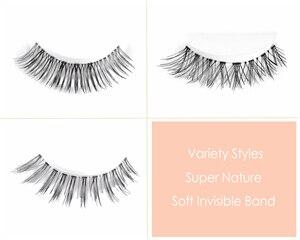 Image 4 - CLOTHOBEAUTY 5 Pairs False Eyelashes, Fake EyeLashes Extension Handmade Natural Soft Invisible Band,Long Thick Reusable Makeup
