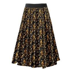 Черные винтажные женские плиссированные юбки, 50 s, одежда с принтом в виде нот, эластичная юбка с высокой талией, юбки в стиле рокабилли