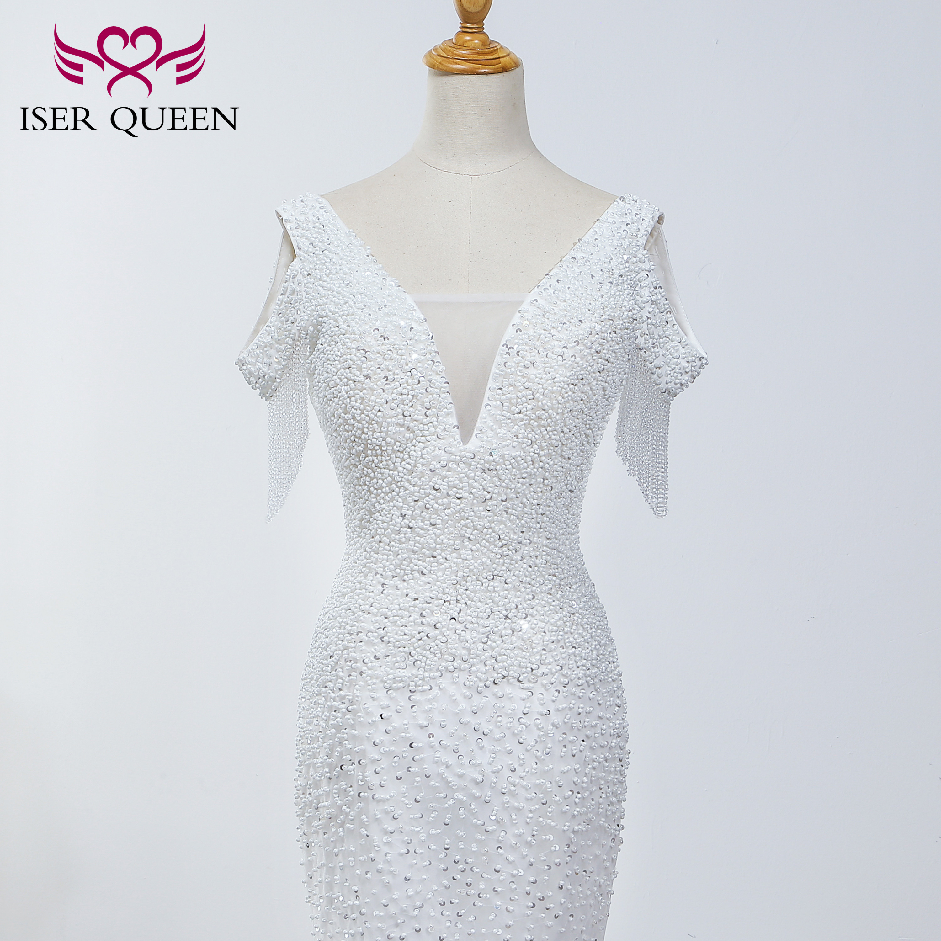 Pearls Beading Deep V-neck Cap Sleeves Mermaid Wedding Dress 2019 Elegant Pure White Embroidered Lace Bride Dress WX0037