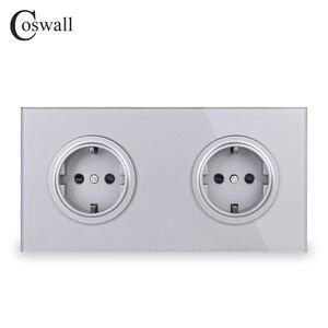 Image 3 - Coswall Crystal Gehard Pure Glas Panel 16A Dubbele Eu Standaard Stopcontact Outlet Geaard Met Kind Beschermende Lock