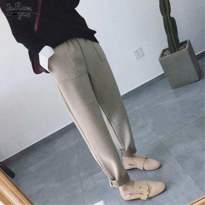 Autumn Winter New Pants Women Thick Women Harem Pants Wool Korean Style Plus Size Pantalon Loose All-match Trousers Capris 11066